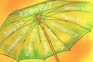 Umbrella with bible verse references