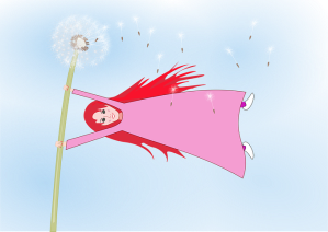 Girl hanging on to dandelion blowing in the wind