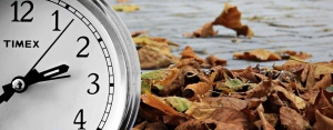 Clock, leaves, Fall time change