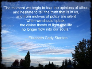 Image of the sky with a quote from Elizabeth Cady Stanton