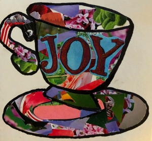 Joy, paper collage teacup, created ©️2018 LeonasDesigns