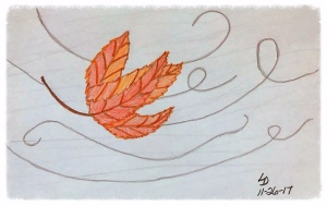 Drawing of a leaf in the wind