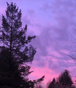 Sunset in the northern sky, blue and pink sky