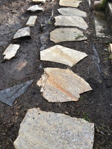 Slab stone walkway