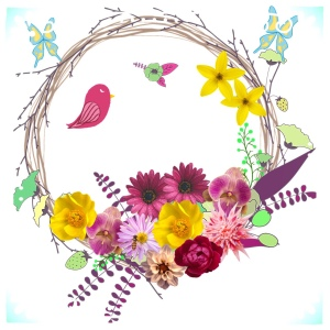 Spring wreath with flowers, bird and butterflies