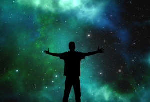 Person, starry sky,