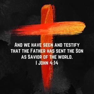 Cross image, 1 John 4:14 scripture