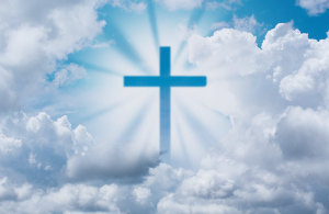 Cross, clouds,