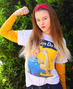 "Original photo of my grand-daughter Victoria,in her ""Can Do"" T-shirt"