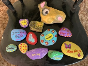 Rocks painted by me and my grand-daughter