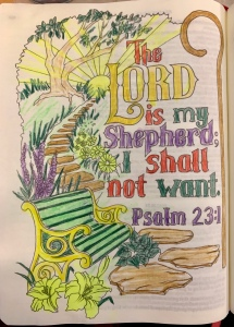 The Lord is my Shepherd, I shall not want. Psalm 23 visual