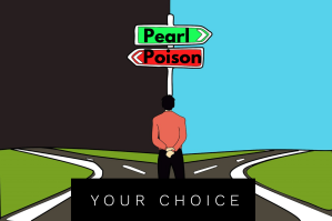 Your choice. Intersection with signs pointing to pearl or poison