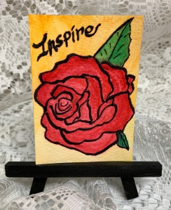"""Inspire"" ATC on a black easel created by ©️LeonasDesigns"