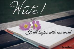 Blackboard, open journal, flowers, message Write! It all begins with one word
