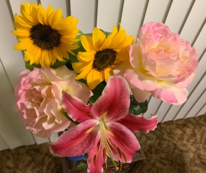 Flowers of Summer, sunflowers, yellow pink tinged roses, pink Lily