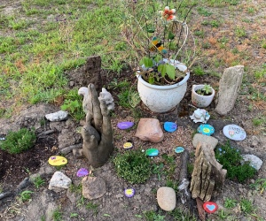 Rock Garden with some Kindness Rocks in it painted by me and my grand-daughter