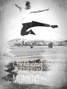 "Man jumping, words ""Live in the Moment"" on image"