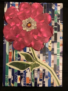 Paper Collage Flower, mixed media art by LeonasDesigns