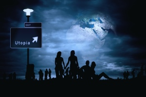 Utopia image from Pixabay.com, night, people, road sign to Utopia