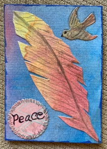 Feather, ATC card created by Leona J. Atkinson