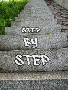 Stairs, step by step, walking upward
