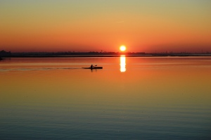 Sunset, water, canoe