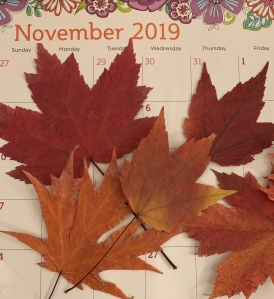 Fall leaves on November calendar