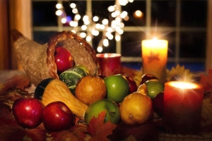 Cornucopia with an abundance of fruit and lights