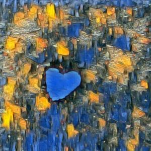 Original photo of a small heart, enhanced in a photo app