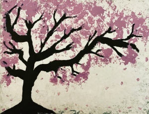 Acrylic painting of cherry tree by Leona J Atkinson 2020