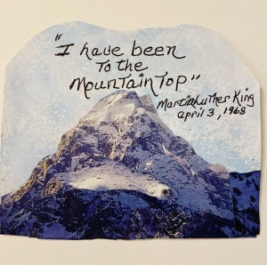 Paper collage of a mountain by Leona J. Atkinson©️2020