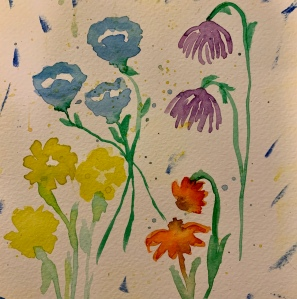 Watercolor drawing of wildflowers by Leona J. Atkinson ©️2020