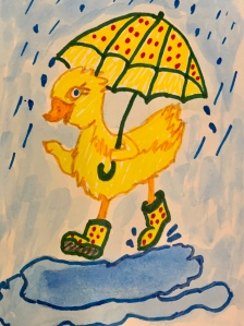 Drawing of a duck in the rain with boots with umbrella by Leona J. Atkinson 2020