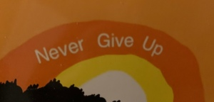 Painting of Sunrise, Never Give Up text