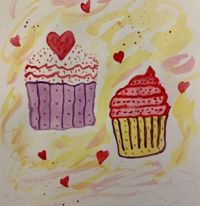 Cupcakes, watercolor drawing by Leona J. Atkinson 2020