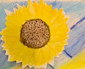 Sunflower watercolor painting by Leona J. Atkinson 2020