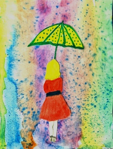 """Reflections in Rain"" girl with umbrella in rainbow rain watercolor"