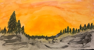 Original watercolor of a sunset