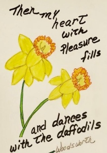 Drawing of Daffodils by Leona J. Atkinson ©️,  Woodworth daffodil poem quote