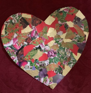 """Patchwork Heart"" paper collage by Leona J. Atkinson 2019"