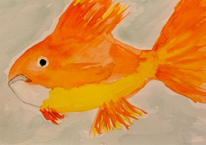 Goldfish, original watercolor painting by Leona J. Atkinson 2020