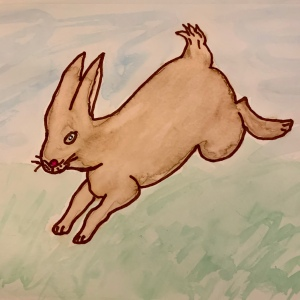 Leaping Rabbit original watercolor by Leona J Atkinson 2020