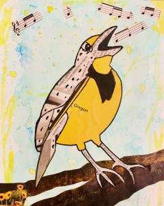 Songbird, Western Meadowlark singing, original art created by Leona J Atkinson 2020