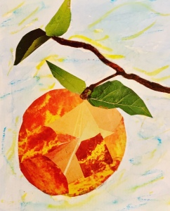Peach-paper collage by Leona J. Atkinson 2020