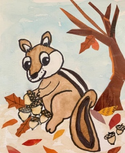 Chipmunk gathering acorns in the Fall