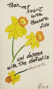 Hand drawn daffodils by Leona J. Atkinson, quote from Woodsworth daffodil poem