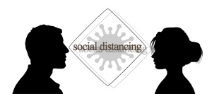 Man and woman with sign social distancing