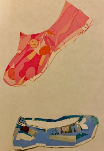 Paper collage shoes