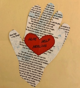 Hand drawing, Psalm 91background, red heart in center with words Hope, Help, Healing