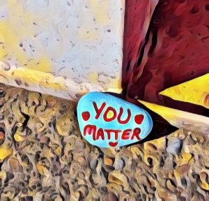 "Hand painted rock says ""You Matter"""